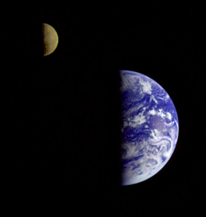 Earth-Moon From NASA's Galileo, Heading To Jupiter