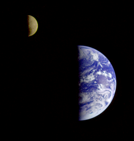 Earth-Moon From NASA's Galileo, Heading To Jupiter