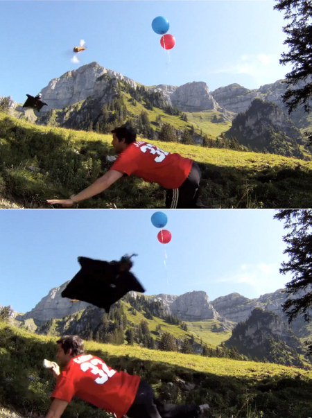 Wingsuited Corliss Popping Balloons Before Zooming Into A Gorge