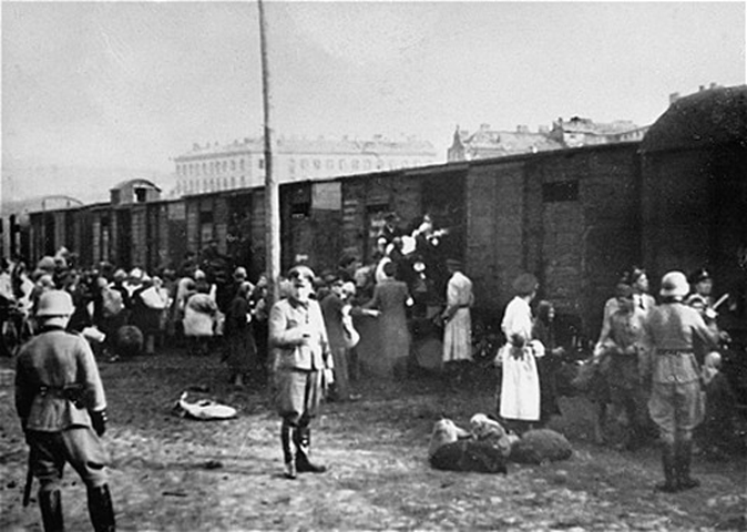 Holocaust Train Loading. Contemplate the Many Armed German Nazis.