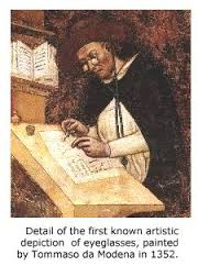 Earliest Glasses Depicted, Starring Hughes de Provence (1352).