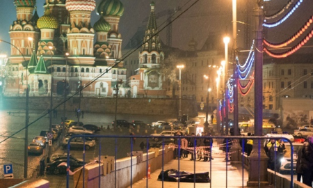 Body of Nemtsov, St Basil. Kremlin Behind. So Far, Only Bullets Talk