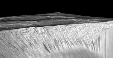 Water Streak In This Martian Crater Are Hundreds Of Meters Long, Five Meters Wide