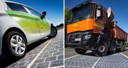 French Truck On Solar Photo-Voltaic Road: the Future Has Arrived