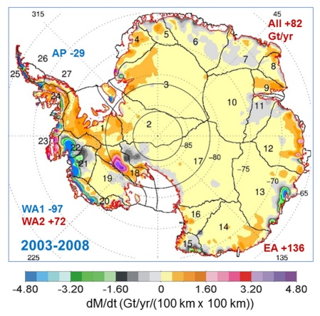 If One Looks Carefully, One Can See The Three Places Where Warm Water Is Sneaking In Below (In Green & Blue in WAIS and In East Antarctica).
