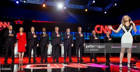 Patriotic Circus: Hands On Heart Republican Presidential Candidates. As they Are At It, They Should Cry, But It's Not Manly Enough
