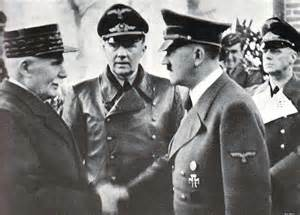 Even the Nazis Had To Collaborate With Their French Enemy in 1940. (French Petain, Victor of Verdun, To The Left. Loser of World War Two, To The Right.)