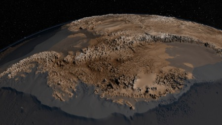 Antarctica Stripped Of Ice. In Some Places, Ice Rests On The Ground 2,500 Meters Below Sea Level (a mile and a half).