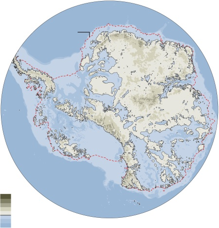 How Antarctica would appear if its ice melted: it's half under the sea.