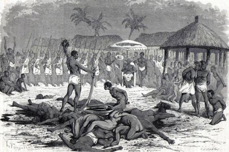 "Sacrifice Of The Annual Customs At Dahomey. Drawing By Foulquier, 1776. Engraving In ""Le Tour Du Monde, 1865."""