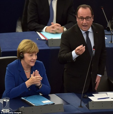 European Parliament: French President & Girlfriend Telling British Europhobes To Get Great Britain Out Of The European Union. October 2015