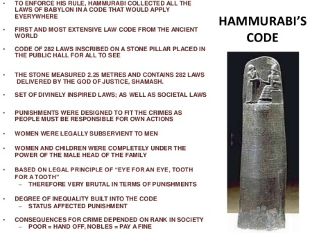 Good Laws Come Only From High Smarts. Hammurabi's Laws Are 38 Centuries Old. Having Mastered Writing Was Necessary, As The 282 Laws Were Shown All Over The Vast Empire
