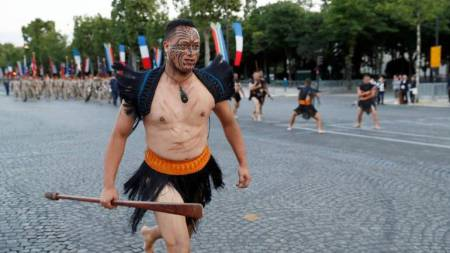 Maoris On the Champ Elysees, Paris, 14/07/2016, Opening the 14 July Military Parade