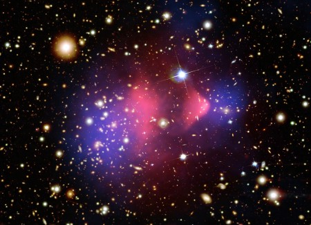 Bullet Cluster, 100 Million Years Old. Two Galaxies Colliding. The Dark Matter, In Blue, Is Physically Separated From the Hot, Standard Matter Gas, in Red.