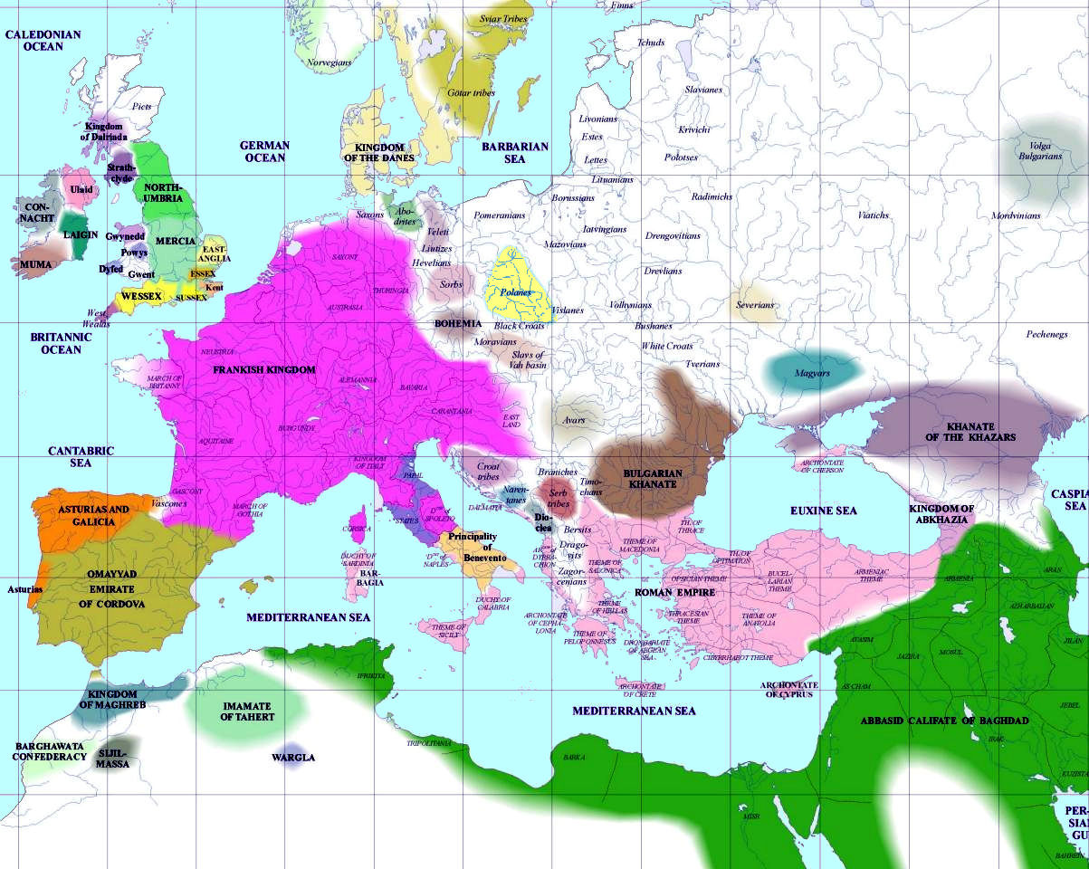 Europe 800 CE, Before Franks Conquered Eastern Europe. The Franks reconquered Britannia in 1066 CE, giving birth to the present polity there.