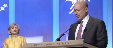The CEO Of Goldman Sachs (on the right) Is Inseparable From Hillary Clinton & Clinton Global Initiative: Global Plutocracy. GS Was Not Prosecuted For Its Crimes In Greece