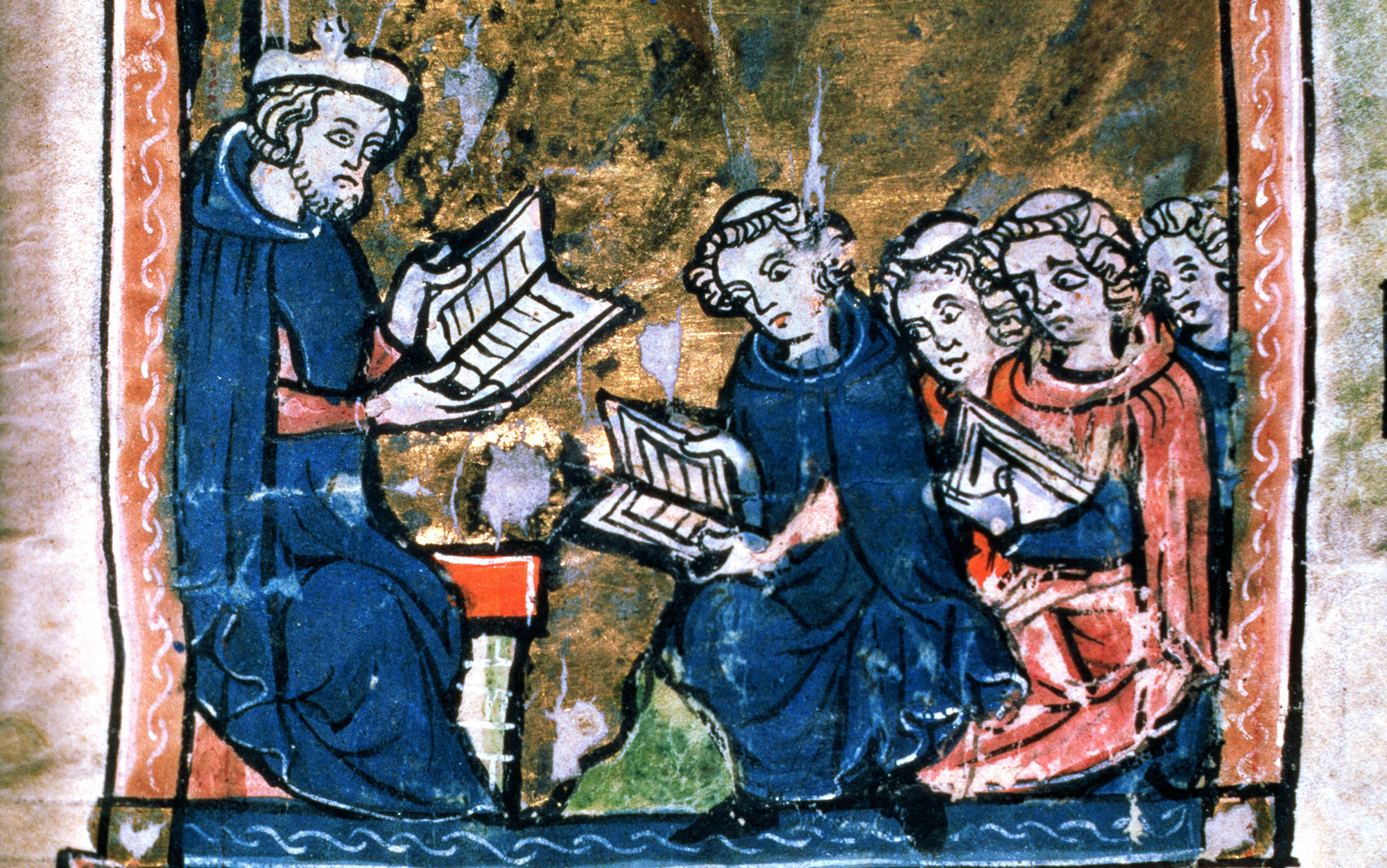 The teaching of Logic or Dialetics from a collection of scientific, philosophical and poetic writings, French, 13th century; Bibliotheque Sainte-Genevieve, Paris, France. The 13th century was a time of extreme intellectual activity in Europe, superior to anything else in the world, centered 800 miles around Paris. In particular the heliocentric system was proposed by Buridan, after he overthrew Aristotelian Physics, by inventing and discovering inertia.