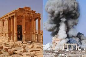 Temple of Baalshiman, Palmyra. Insulted by the Bible in Connection with Human Sacrifices. Its Destruction by Islamists in 2015 (right).