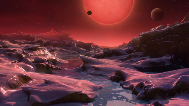 Solar Systems Around Red Dwarves Were Found In Science Fiction So Far, Now They Are Science Fact. Impression of the view from a water bearing Trappist 1 Planet.